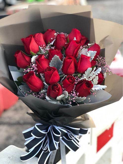 情人節韓式20支玫瑰花束 20 Red Roses Bouquet VD-KSREW20