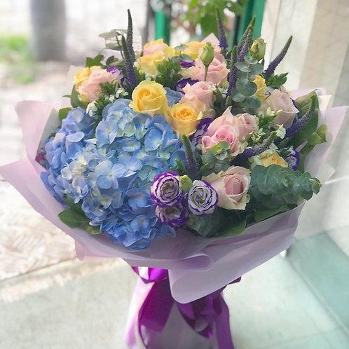 20枝雙色玫瑰繍球花束HYRPPC20