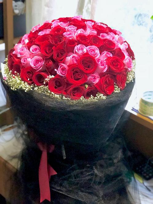 99/108 雙色玫瑰花束 Dual Color Rose Bouquet DPRE-SaBK99B