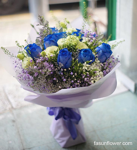 (必須預訂)10枝藍玫瑰桔梗花束 Blue Roses  Bouquet BU10PUB
