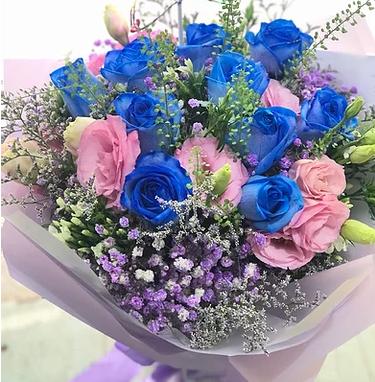情人節10支藍玫瑰桔花束 10 Blue Roses Bouquet VDBU10PUB-PK
