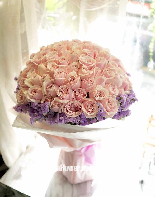 99/108 淺粉玫瑰淺紫無忘我花束 Roses Bouquet PP-PK99M