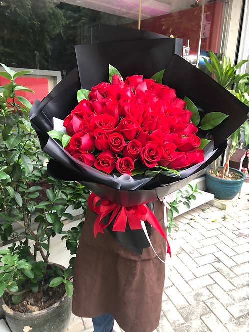 51 Red Rose Bouquet 玫瑰花束 (長形韓式包法)RE-BK51L