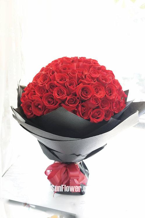 99/108 紅玫瑰花束(黑色花紙) Rose Bouquet 5 RE-BK99