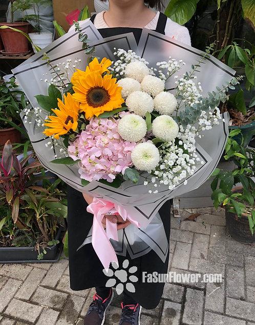 Sunflower hydrangea graduate bouquet 向日葵畢業花束 SFPOPHY10A