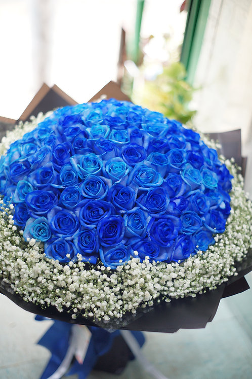 (必需預訂) 99/108 藍玫瑰滿天星花束 Blue Rose Bouquet BU-BK99B