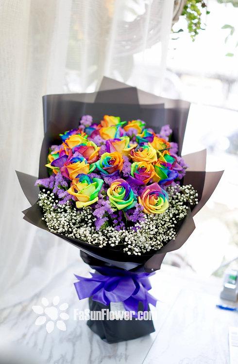 (必須預定)20枝彩虹玫瑰花束 Rainbow Roses bouquet NLRAIN20 (必須預訂)