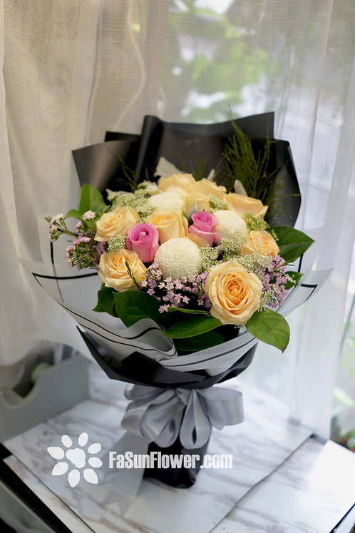 香檳玫瑰花束Champagne Rose bouquet CPRE020