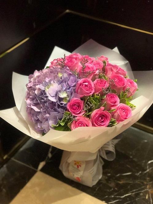 10枝玫瑰繡球花束 Pink Roses hydrangea bouquet PKHYY