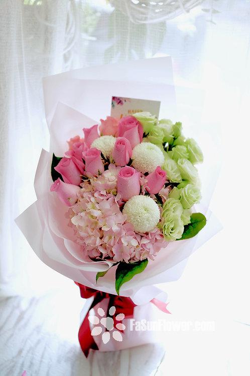 粉紅玫瑰繡球花束 Roses Hydrangea bouquet DPHY10N