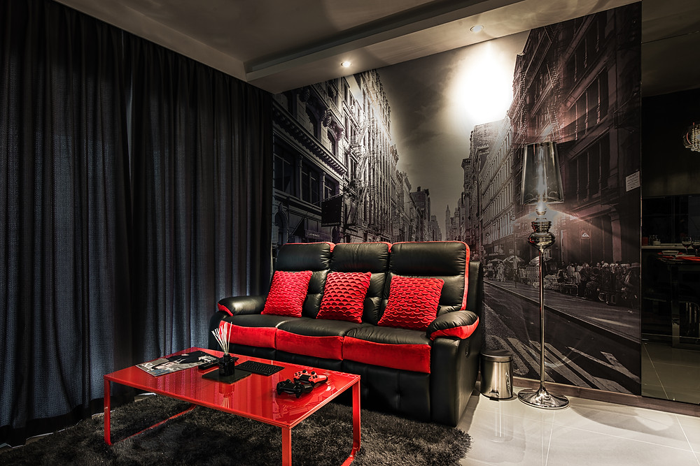 Mr Shopper Studio | Dark Modern Living Room in HDB Condo