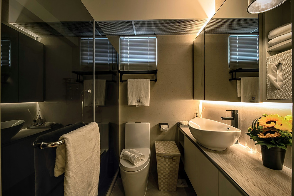 Mr Shopper Studio | Dark Theme HDB Apartment Bathroom