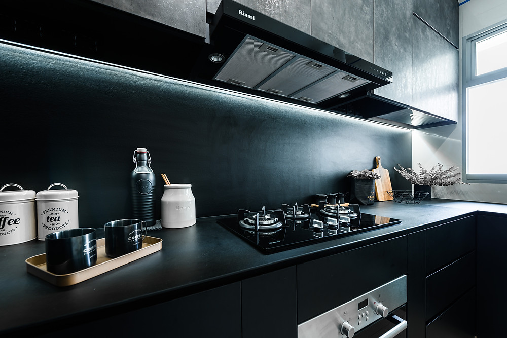 mr shopper studio monochrome black kitchen clementi cascadia renovation creative space saving tips