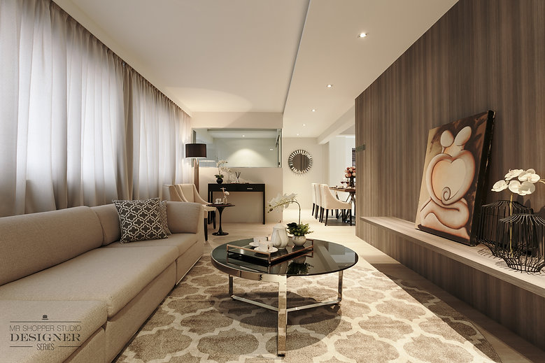 Pasir Ris One, home renovation in fusion of Contemporary Scandinavian, huge wall artwork on white brick wall