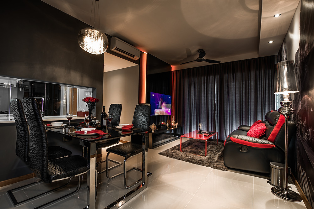 Mr Shopper Studio | Dark Mysterious Modern Living Room in HDB Condo