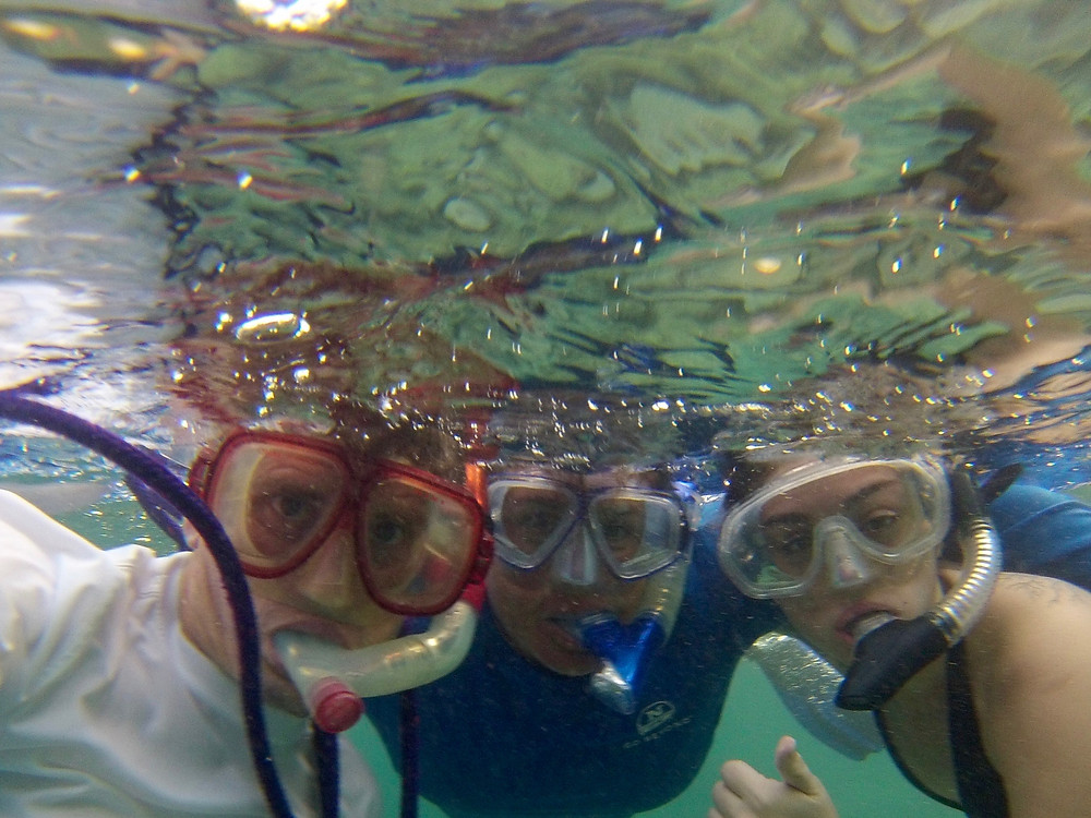 Noj & Isabel & I snorkeling at Isla Chivos.
