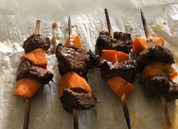 Broiled Beef Tenderloin and Sweet Potato Kabobs