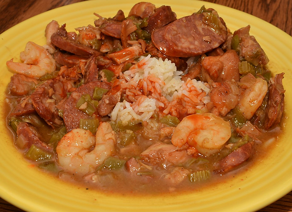 Gumbo With Rice & Cornbread Muffins