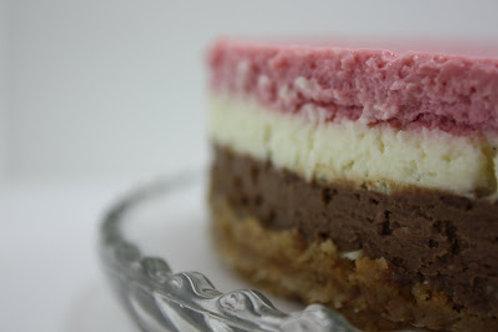 """9"""" Chocolate Vanilla Strawberry Neapolitan Cheesecake"""