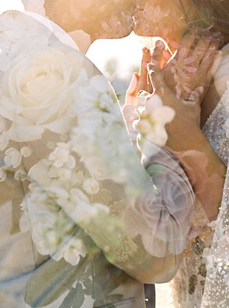 fine art photography double exposure amelia soegijono bride groom kiss