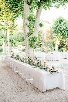 head bridal table outdoor wedding dinner provence ghost chairs fairy lights
