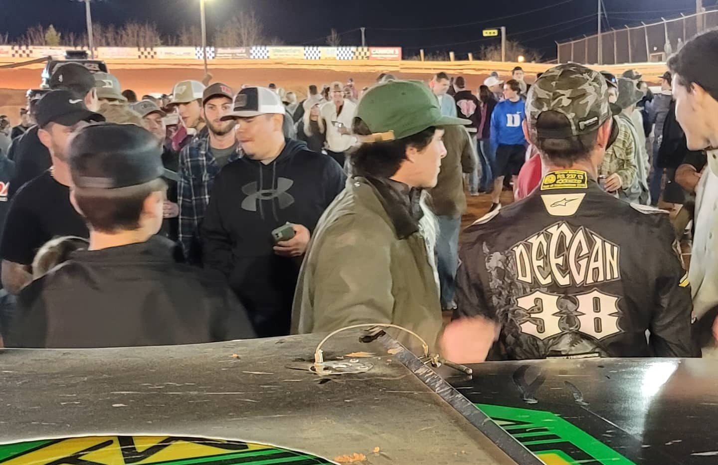 Deegan chatting with fans