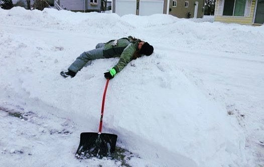 Shoveling snow can be strenuous on the entire body