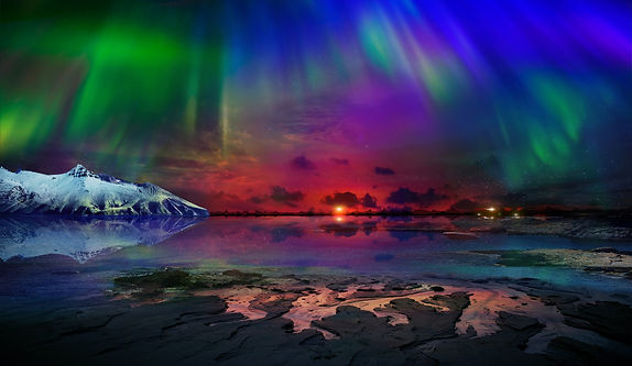 Beautiful northern lights of the northern part of the planet. Magnificent views of the oce