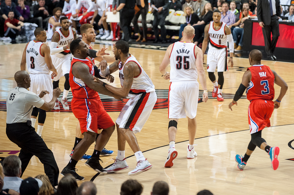 Blazers and Clippers Fight