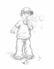 Illustration Beispiel - kleiner Junge mit Bascap macht Seifeblasen, copyright Peter Holle, Hannover, Künstler, Illustrator, Buchautor
