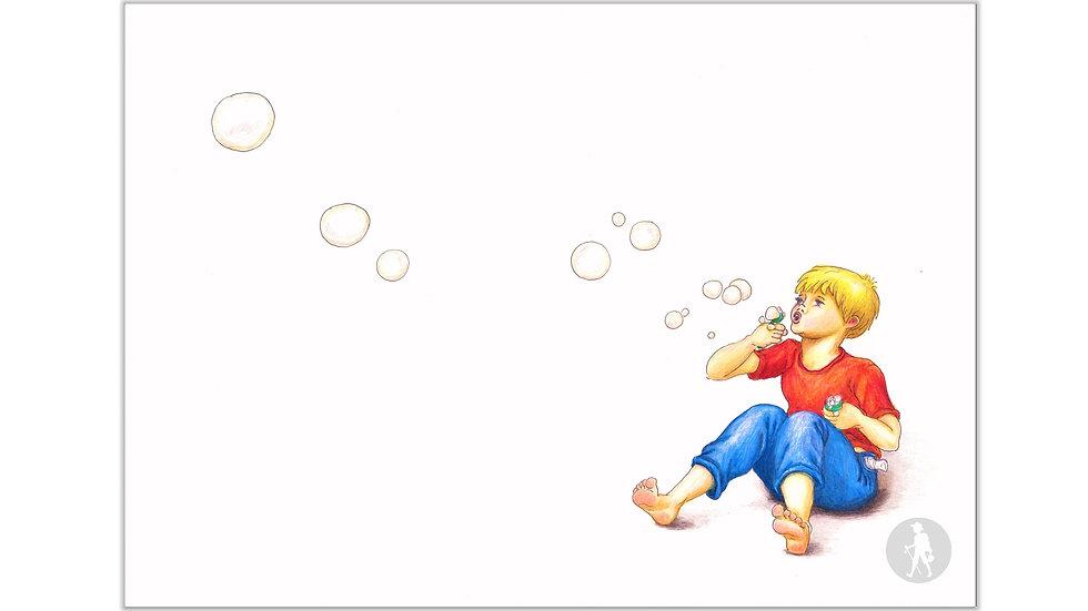 """Original Kinderbuch-Zeichnung """"Seifenblasen 1"""" (Aquarell & Tusche)"""