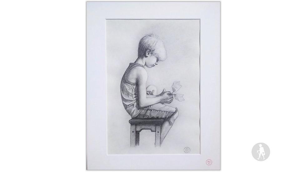 """""""Junge mit Papierflieger"""" (Bleistift auf Papier - versiegelt)"""