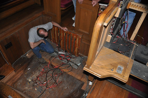 the old organ pit with unsafe wiring to