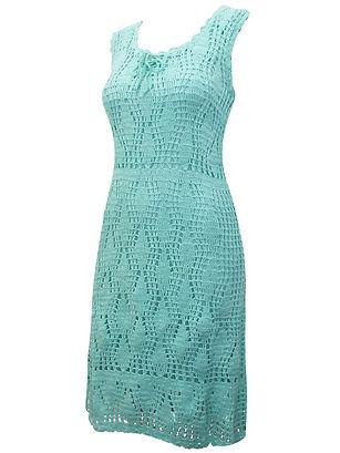 ASHRO MINT Sleeveless Crochet Midi Dress
