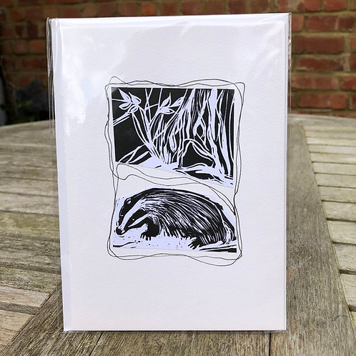 Greeting Card - Badger Linocut
