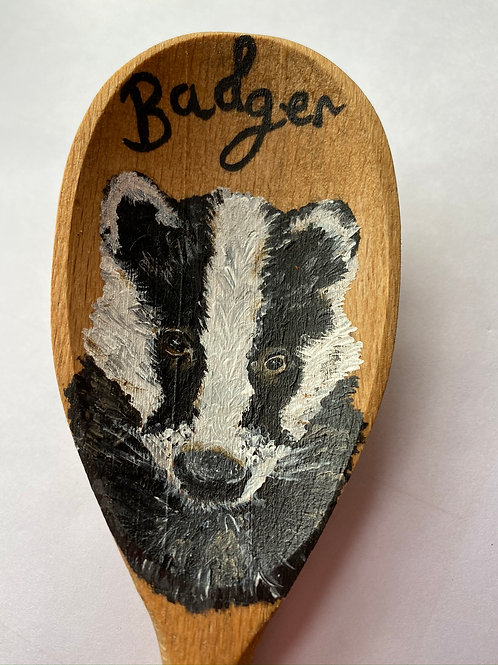 Hand painted Wooden Spoon - BADGER