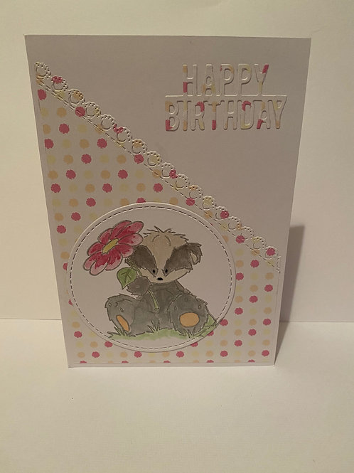 Handmade Badger Birthday Card