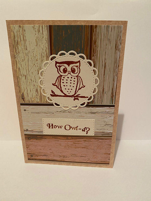 Handmade Owl Greeting Card