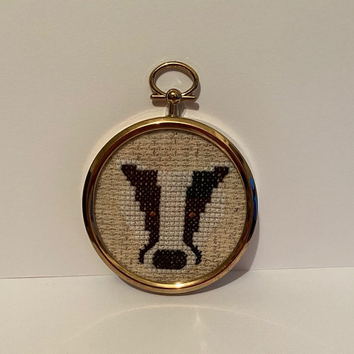 Handmade badger Cross Stitch