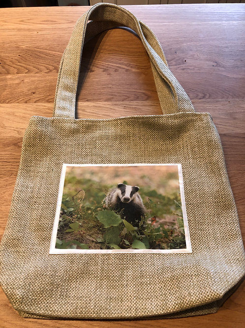 Handmade Fabric Bag with badger