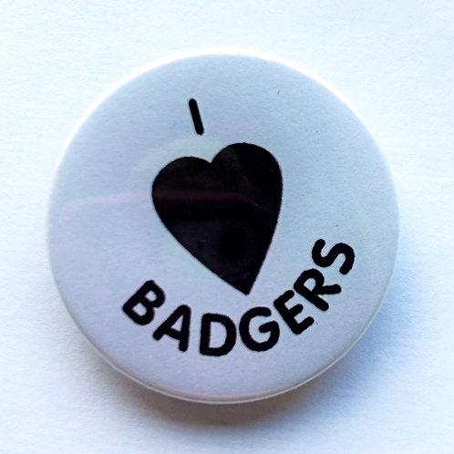I Love Badgers  Pin Badge (1)