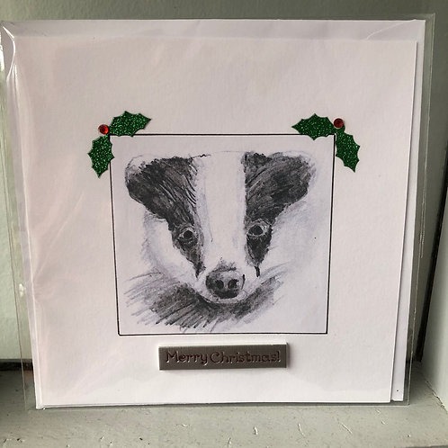 Christmas Card - Badger