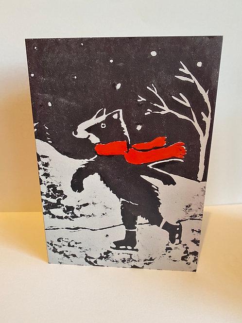 4 Pack Skating Badger Christmas Card