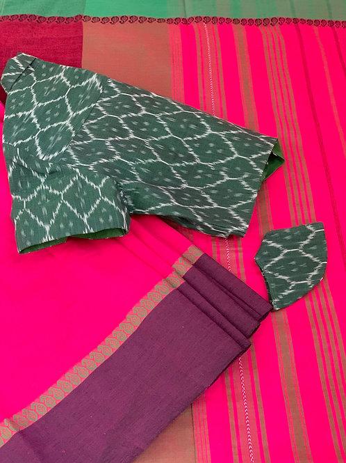 PINK SAREE - GREEN IKAT SHIRT BLOUSE & MASK
