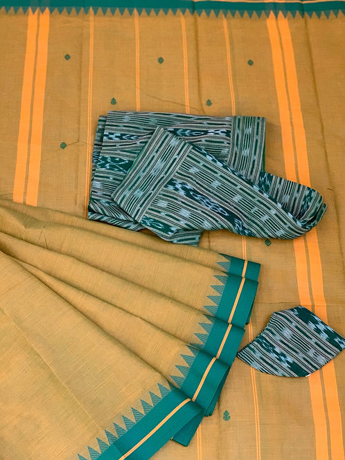 MUSTARD SAREE - GREEN IKAT BLOUSE & MASK