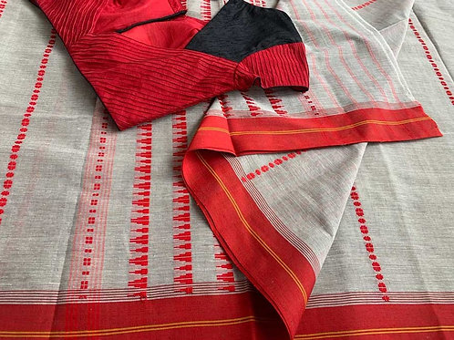 GREY SAREE - RED BLACK BLOUSE
