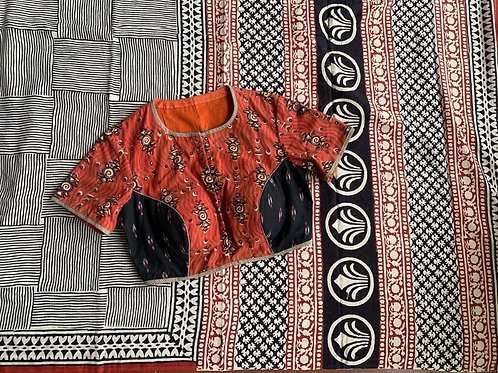 MUL COTTON SAREE - RUST BLOUSE