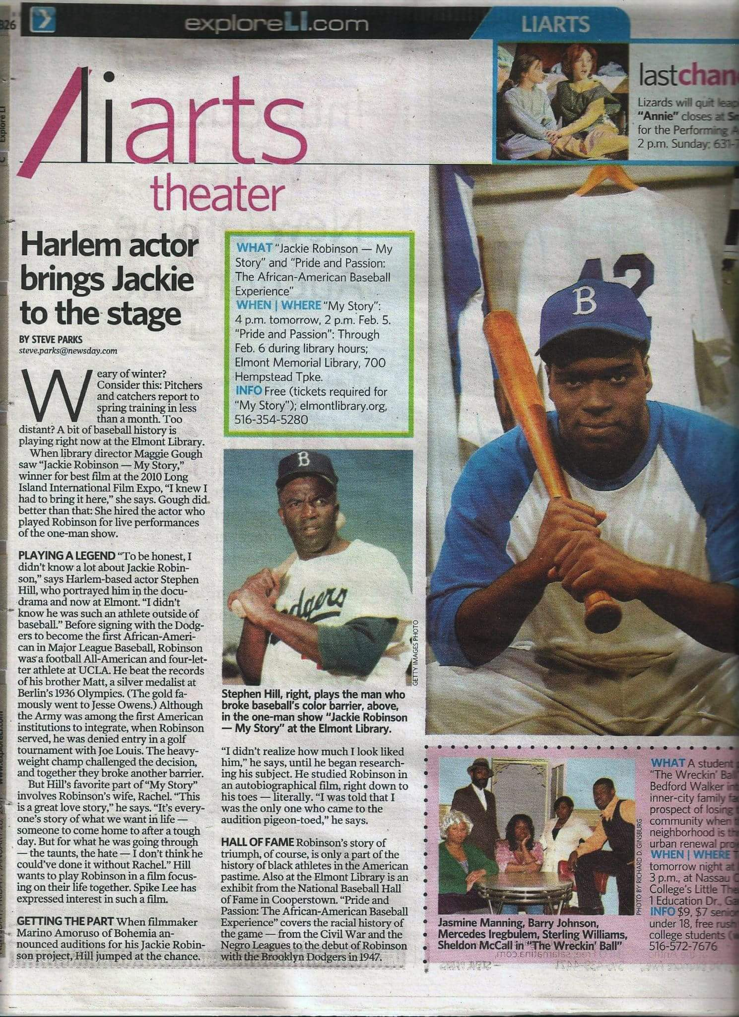 As Jackie Robinson on stage/screen