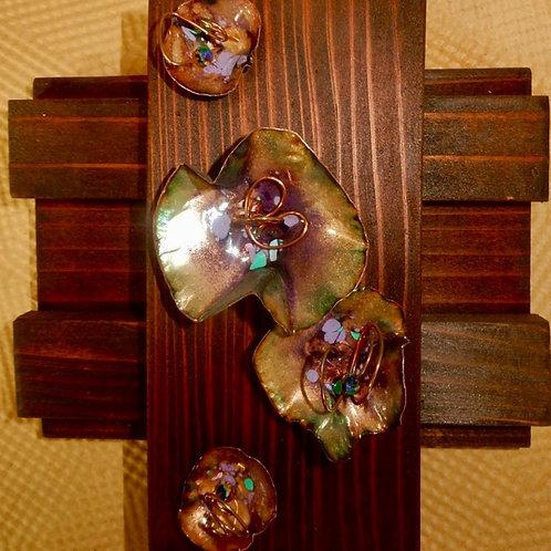 Enamel Flowers on Wood