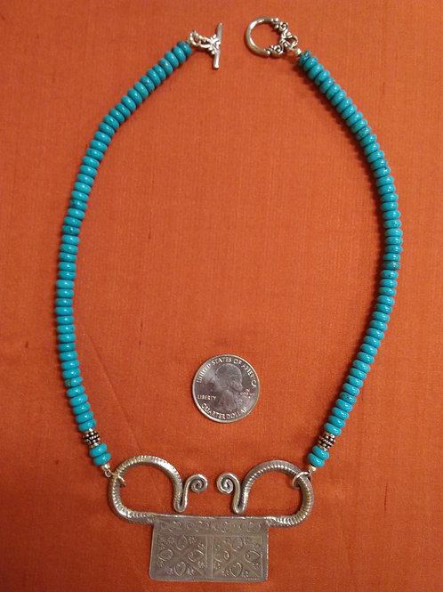 Turquoise necklace with Thai pendant